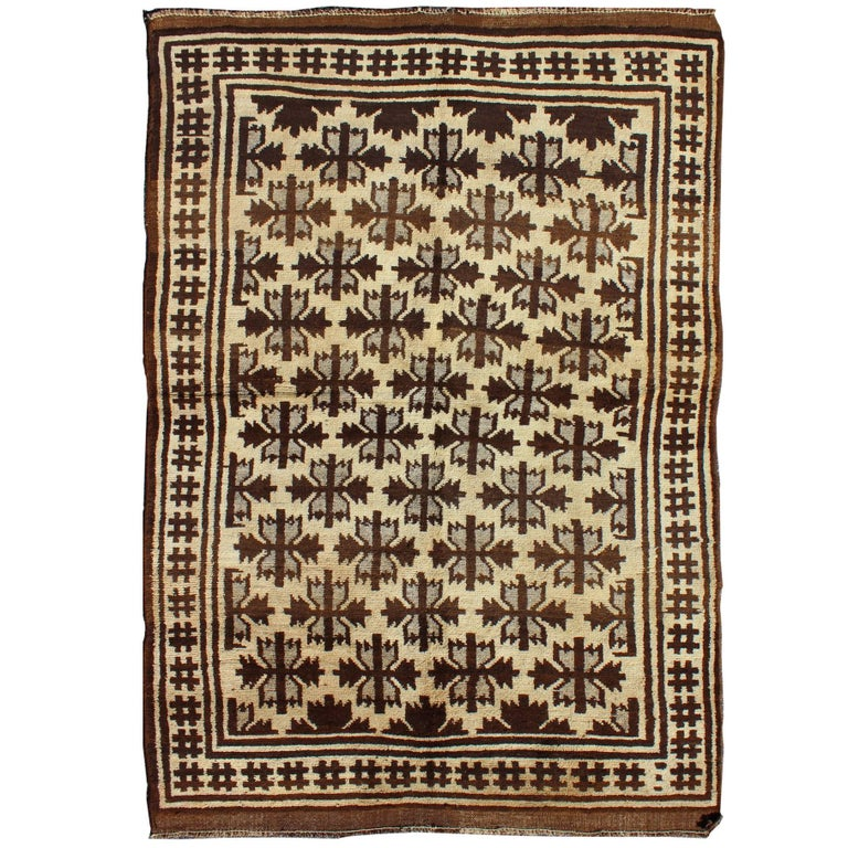 Black And White Geometric Rugs For Sale: Tribal Rug With Geometric Design And Black And Neutral