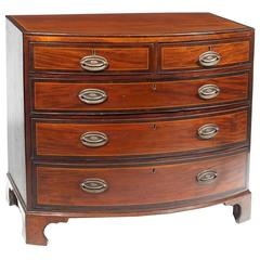 18th Century Bow Front Chest of Drawers in the Style of Sheraton