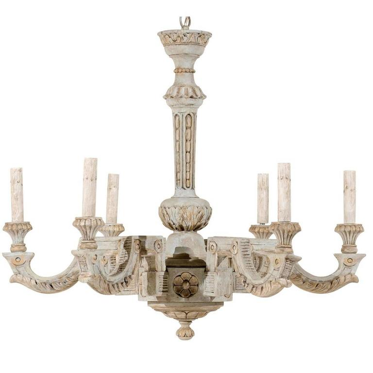 French Vintage Painted And Carved Wood Chandelier With Six Lights For