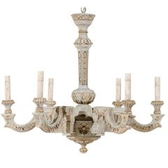 French Vintage Painted and Carved Wood Chandelier with Six Lights