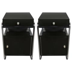 Pair of Art Deco Machine Age Nightstands in Black Lacquer by Wolfgang Hoffman