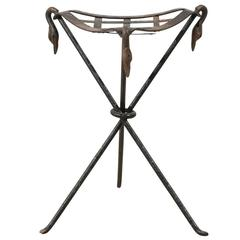 French Vintage Metal Triangular Stool with Cross Woven Seat and Swan Necks