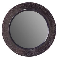 Handmade Blue Lacquer 24-carat Gold Oculus Wall Mirror