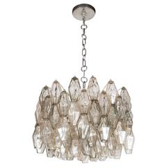 Mid-Century Signed Venini Polyhedral Chandelier in Smoked Gold and Gray