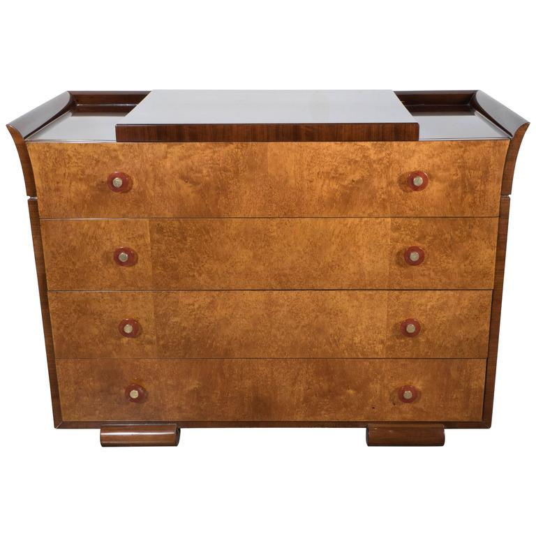 Art Deco Skyscraper Style Chest in Bookmatched  Burled Elm, Mahogany and Walnut