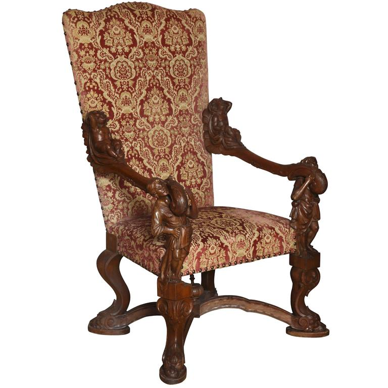 Important Italian Baroque Style Walnut Open Armchair 1