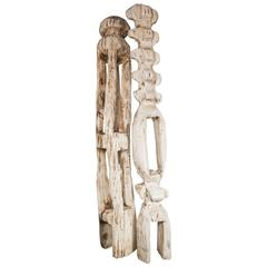 Monumental Pair of White Washed Hand Organic Sculpted Totems by Espen Eiborg