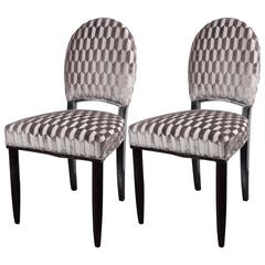 Art Deco Pair of Occasional Chairs in Patterned Platinum Velvet, Style of Follot