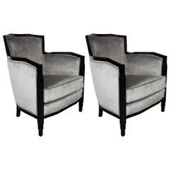 Art Deco Pair of Skyscraper Style, Black Lacquer and Platinum Velvet Armchairs