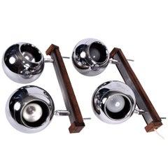 Pair of Mid-Century Modern Eyeball Design Light Fixtures