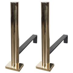 Pair of Custom Modernist Polished Brass Cylindrical Form Andirons