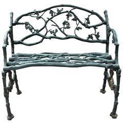 Antique Green Cast Iron Grotto / Garden Bench