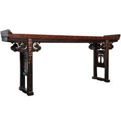 19th Century Chinese Long Black Lacquered Console Table with Gold Rubbed Details