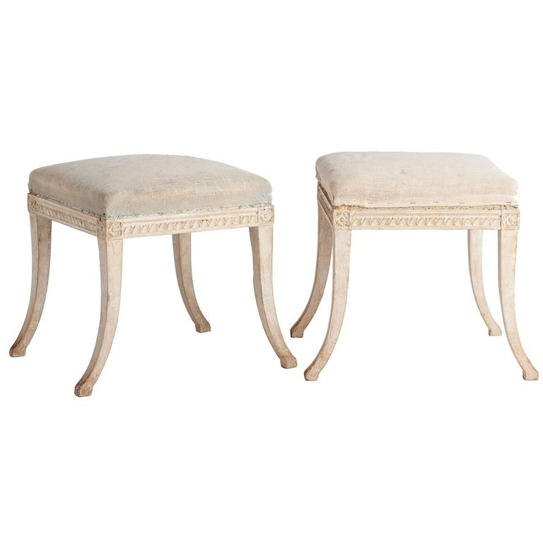 Rare Pair of Swedish Gustavian Period Stools, Stockholm, 1790