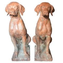 Pair Lifesize Italian Terracotta Hunting Dogs