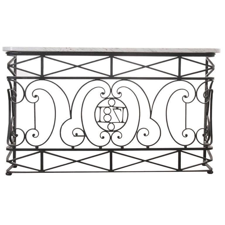 French 19th Century Iron Balcony Console with Marble Top