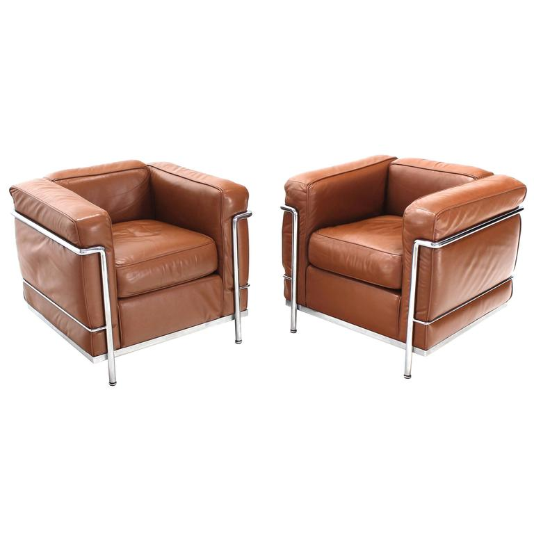 le corbusier lc2 cassina brown leather pair of lounge. Black Bedroom Furniture Sets. Home Design Ideas
