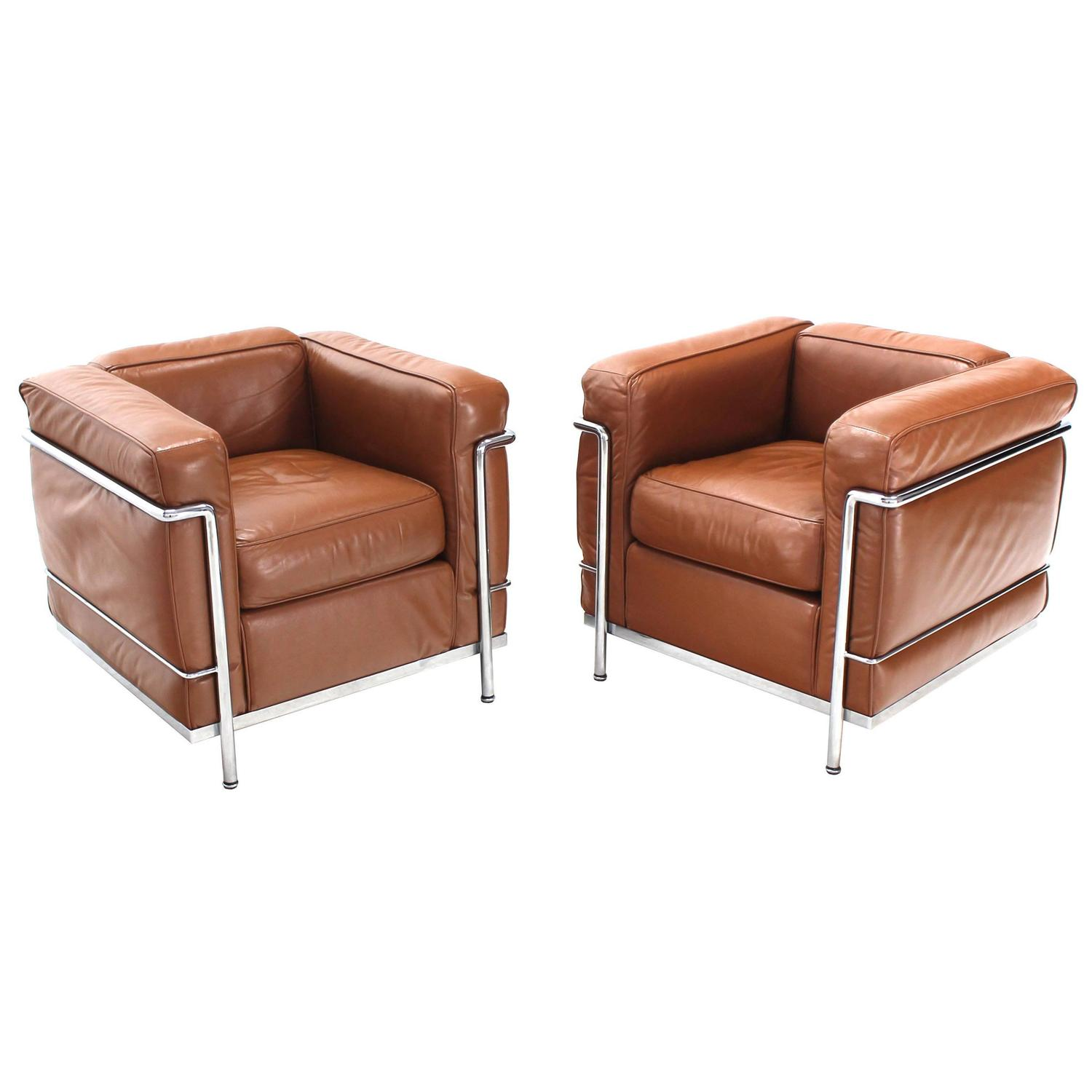 Le corbusier chair vintage - Le Corbusier Lc2 Cassina Brown Leather Pair Of Lounge Chairs