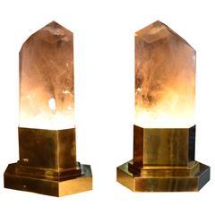 Group of Two Smoky Brown Rock Crystal Obelisk Lights