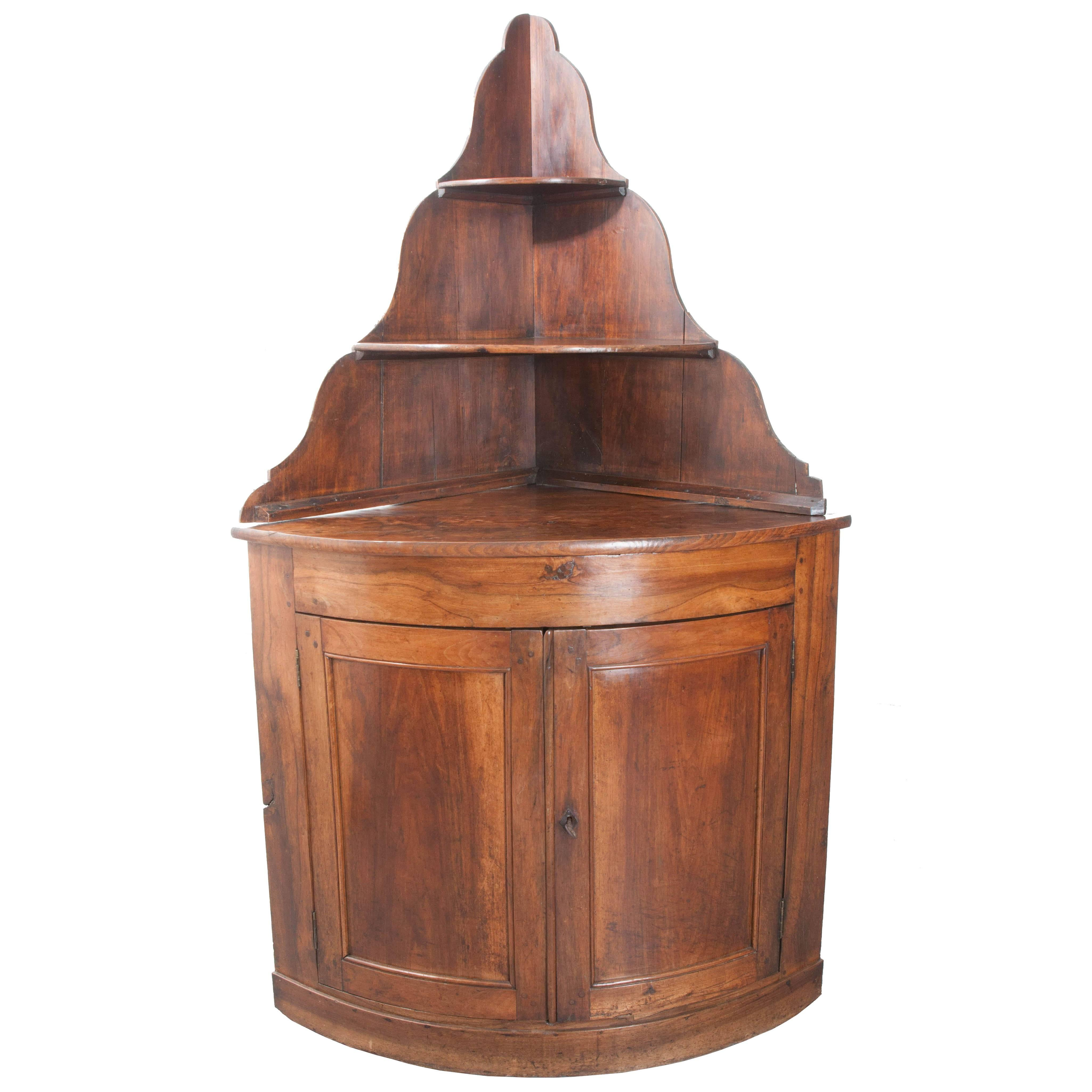 French 19th Century Walnut Corner Cabinet