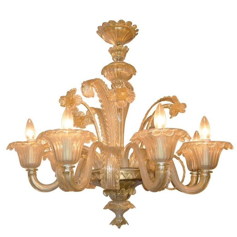 Antique Venetian Italian Gold Fleck Chandelier