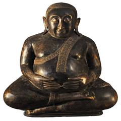 Late 18th Century Large Bronze Sitting Pu-tai or Laughing Buddha, Thailand