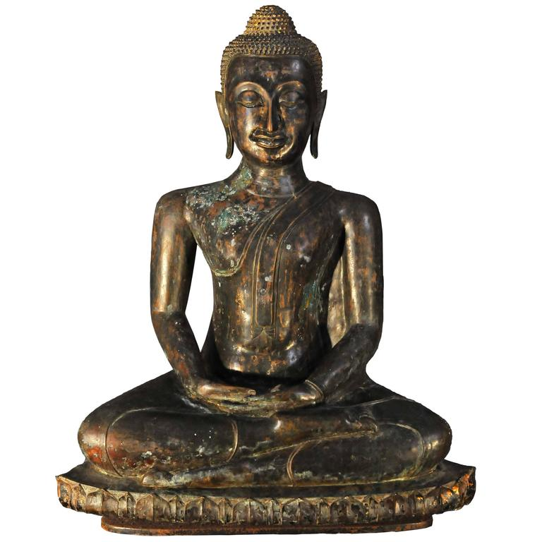 17th Century Bronze with Green Patina Virasana Buddha in DhyanaMudra, Thailand