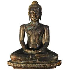 17th Century Bronze with Green Patina Virasana Buddha in Dhyana Mudra, Thailand