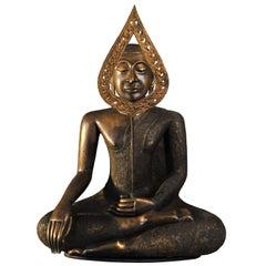 19th Century Bronze Virasana Bodhisattva in BhumisparshaMudra, Thailand