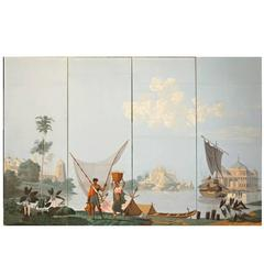 Original Four Zuber Panels, Papier Peints, Fisherman on the River Ganges