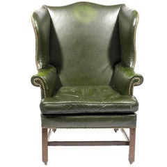 18th Century Georgian Leather Wing Chair