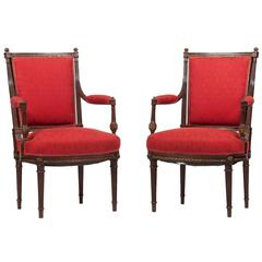 Pair of French Empire Salon Chairs