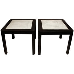 Karl Springer End Tables with Shagreen Tops, 1980s
