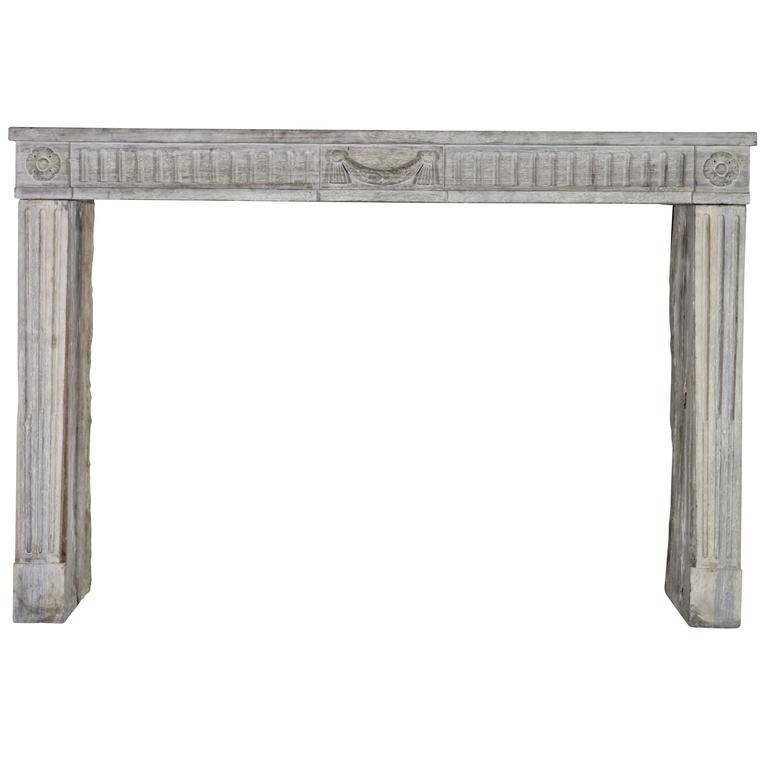 18th Century French Country Bicolor Limestone Fireplace Surround