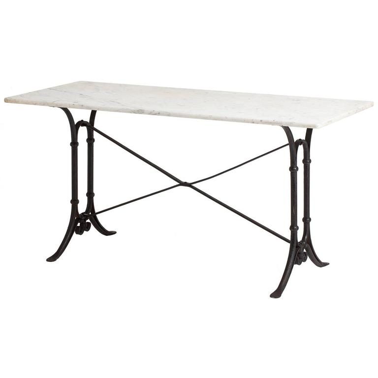 Long French Bistro Table With White Marble Top, Circa 1920 For Sale