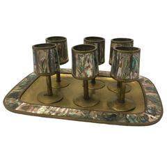 Los Castillo Mexican Abalone and Brass Cordial Glass and Tray