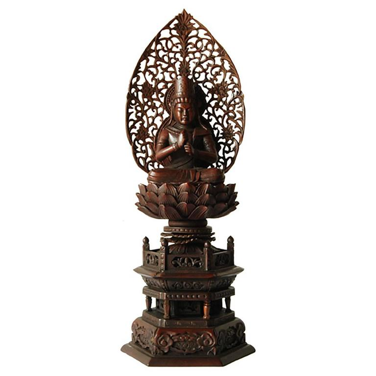 Early 20th Century Guanyin on Lotus Throne For Sale