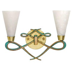 Bronze Sconce with Alabaster Shades in a Jules Leleu Style