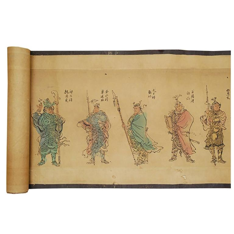 19th Century Chinese Outlaws of the Marsh Hand Scroll For Sale