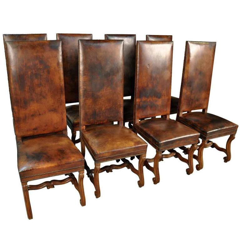 Set Of 8 Spanish 19th Century Leather Dining Chairs At 1stdibs