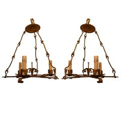 Pair of 20th Century Gilded Iron Chandeliers from Barcelona