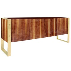 Custom Walnut and Brass Media Cabinet
