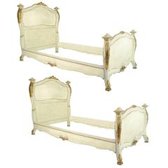 Fine Pair of 19th Century Venetian Painted and Giltwood Twin Beds