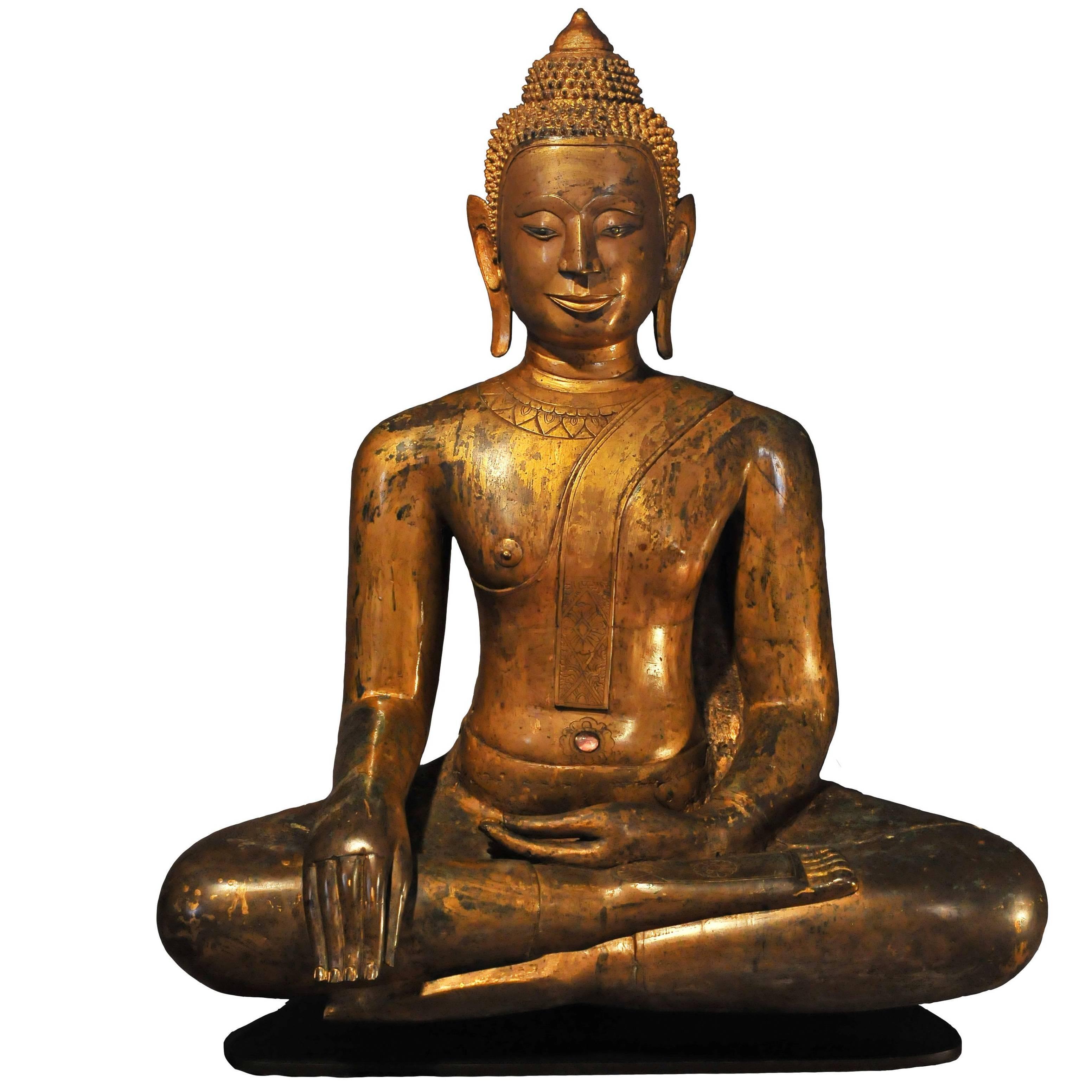 18th Century Gilt Bronze Buddha Maravijaya in Bhumisparsha Mudra, Cambodia