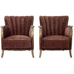 Pair of Art Deco 1920s Birch Shell Back Lounge Armchairs