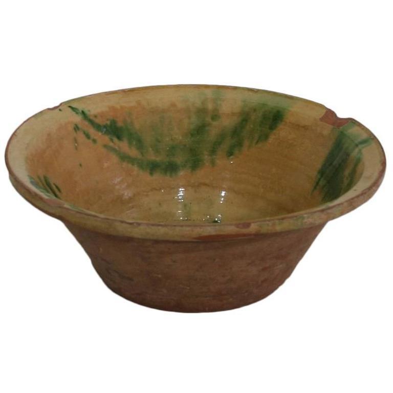 Original 19th Century Spanish Glazed Terracotta Bowl