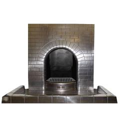 Antique Vintage Art Deco Semi Polished Cast Iron Fireplace Insert,