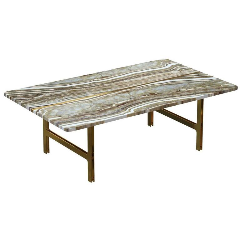 Split Coffee Table In Tiger Onyx Marble For Sale