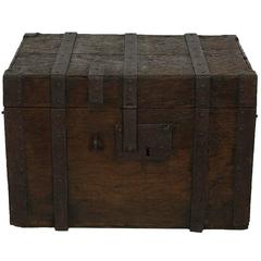 17th Century Early Oak French Chest Strongbox