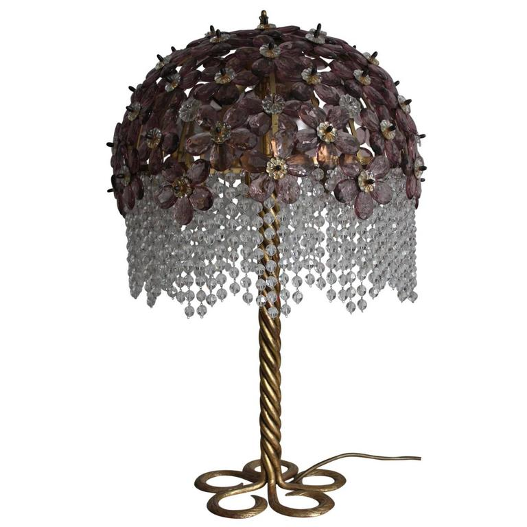 large table lamp in the style of bagues iron and crystal. Black Bedroom Furniture Sets. Home Design Ideas